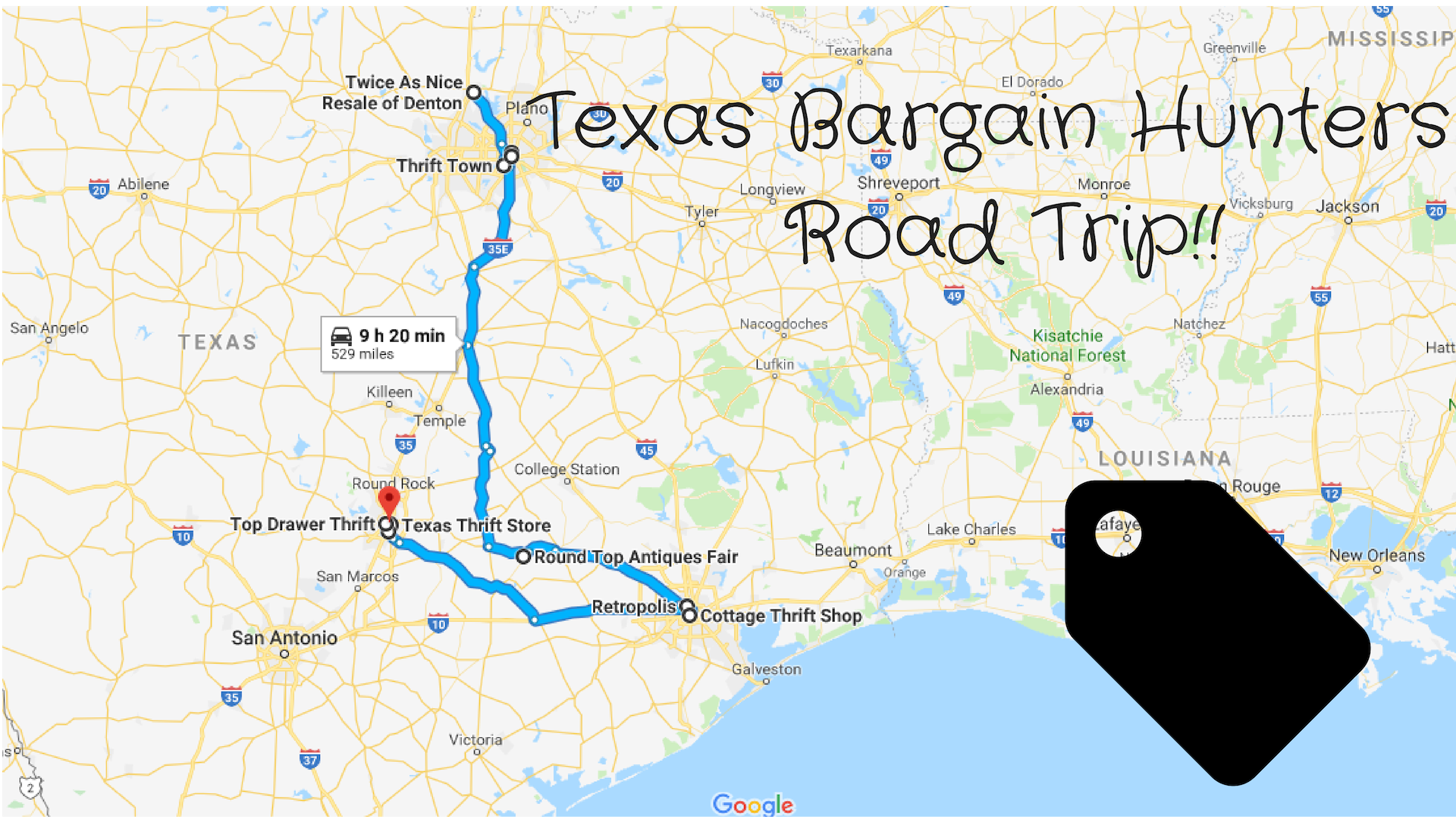 Road Trip To The 10 Best Thrift Stores in Texas Map Of Antique Places On Round Top Texas Route on