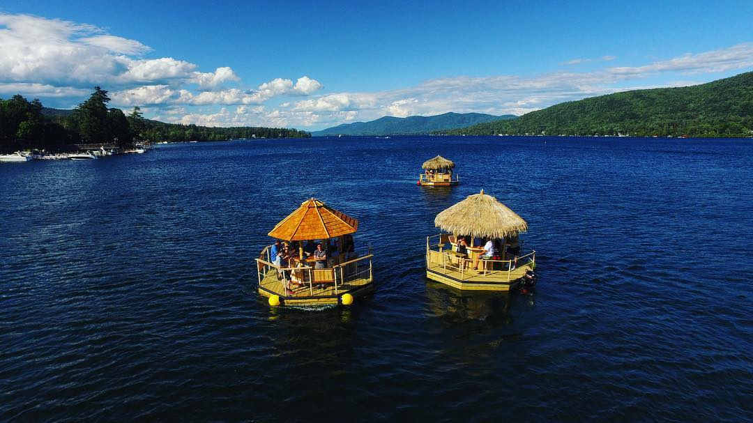 You Can Cruise Around Lake George On This Floating Tiki Bar In New York