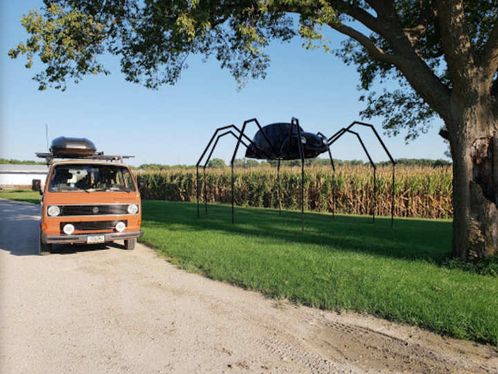 The Volkswagen Beetle Spider In Iowa Just Might Be The Strangest Roadside Attraction Yet