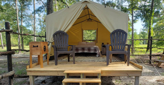 Sleep In An Outpost Glamping Tent And Go Kayaking Or River Tubing At River Island Adventures In South Carolina
