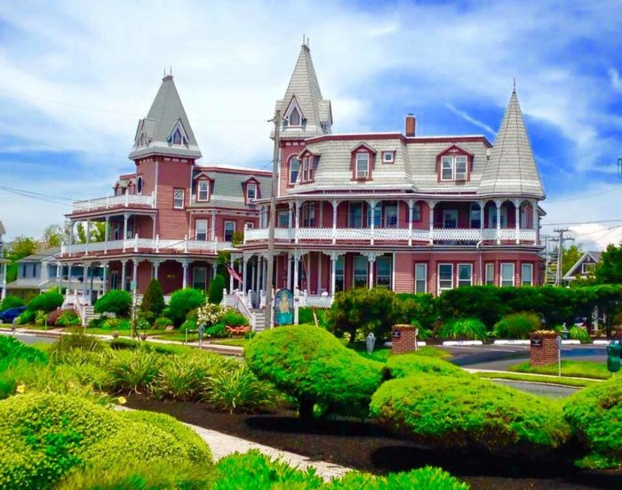 Pink Victorian Hotel In Cape May With Cloudy Blue Sky